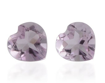Pink Amethyst Heart Cut Set of 2 Loose Gemstones 1A Quality 6mm TGW 1.20 cts.