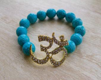 Ohm and Turqoise Stretch Bracelet Yoga Ohm Bracelet Yoga Jewelry