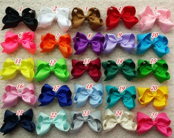 5% off!! set of 25 pcs 4 inch hair bow Girl hair bow Toddler hair bows infant hair bows infant hairbows  40 colors to choose O1