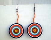 Colorful Dangle Earrings Eco Friendly  Paper Jewelry Statement Earrings FREE SHIPPING Ready to Ship / Πολύχρωμα Χάρτινα Σκουλαρίκια