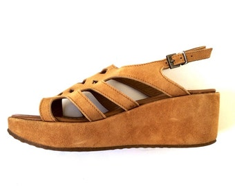 Tan Leather Wedge Sandals 7