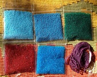 Czech Size 15 Charlottes - Blue, Green, Aqua, Red, Purple