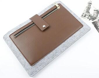 "Leather Felt Macbook Pro 13.3"" sleeve, Macbook 13"" sleeve, Macbook 13"" case, Macbook Pro Case, Macbook Pro 13.3"" Sleeve, Laptop sleeve SJ309"