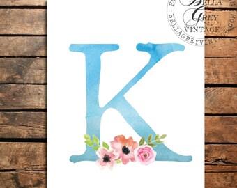 Woodland Flower Nursery Monogram Initial Art Print - Watercolor Art Print - Nursery Decor - Baby Shower - Letter K - Personalized Baby Gift