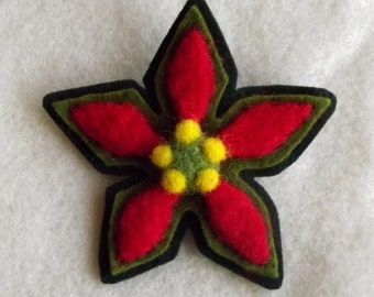 Christmas Poinsettia Hand Felted Wool Brooch Wearable Art