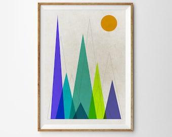 Mountain art Retro print Geometric Art Triangle art Mountains Wall Art Scandinavian print Mid century modern Abstract print home wall decor