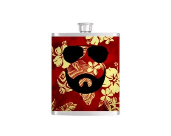 Hawaiian Aviator Beard Groomsmen Guy's Flask  - Stainless Steel 8 oz Liquor Hip Flasks - Flask #165