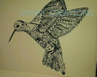 SALE! Hummingbird Doodle/ Zentangle Art Print
