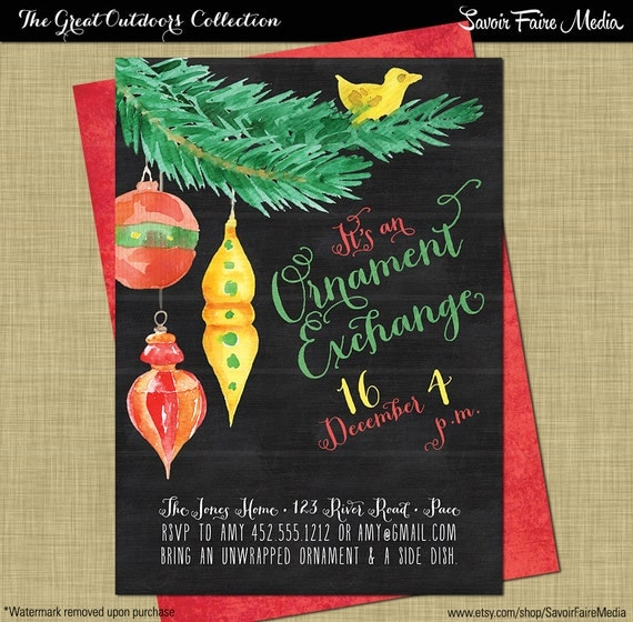 christmas ornament exchange invitation christmas white elephant