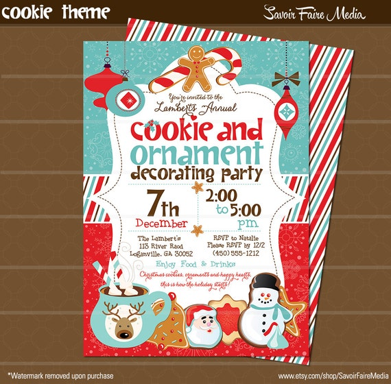 Holiday Cookie and Ornament Decorating Party Invitation Printable – Cookie Decorating Party Invitations