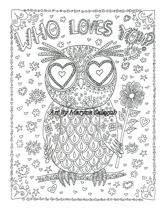 valentines day coloring pages owls - photo#27
