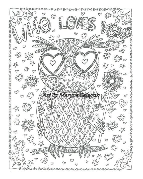 Coloriage qui vous aime carte chouette amour saint valentin - Mandala amour ...