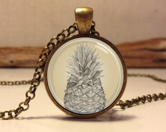 PINEAPPLE necklace . Tropical pineapple pendant jewelry . Pineapple jewelry art . Tropical jewelry (Pineapple #3)