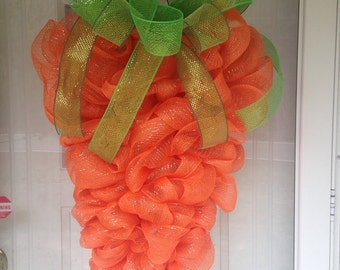 "Spring Easter Carrot Deco Mesh Ribbon 31"" Door Wreath"