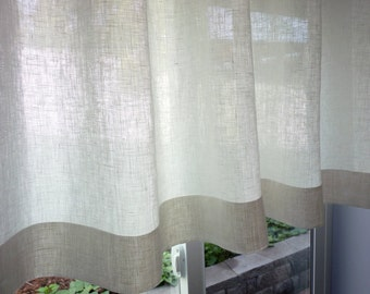 "100% Flax Linen - 38 Colors - Custom Cafe Curtain Made to Order. One Panel 51""W. Custom Size.  100 Percent Pure Flax Linen Fabric"