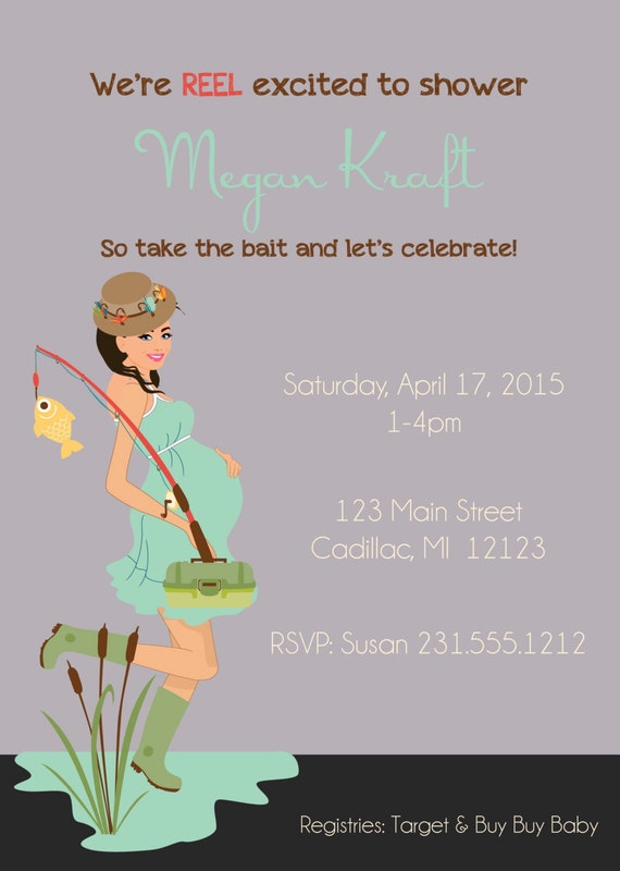 gender baby shower invitation fishing baby shower invitation