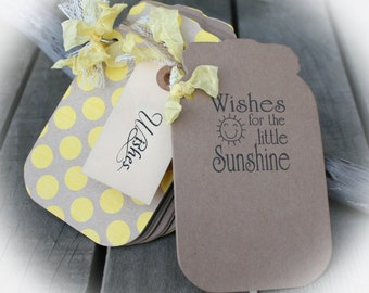 Baby Shower Guest Book // You are My Sunshine Baby Shower- Mason Jar Style Tags Book AND Jar Tag- LIttle Sunshine Baby Shower- Yellow Shower