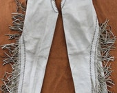 """Vintage fringed white leather chaps-S--personalized for """"Linda"""""""