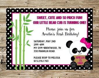 Panda Girl Birthday Party Invitation