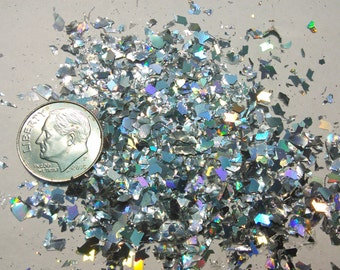 Silver or Gold Holographic Flakies Solvent Resistant Large Flake Irregular Glitter Shreds