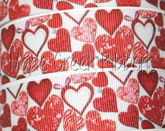 """1"""" Red and Pink Hearts on White Grosgrain Ribbon 1"""" x 1 yard"""