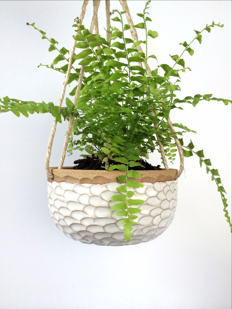 small white ceramic hanging planter stoneware by
