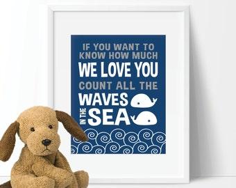 Baby Boy Nursery Art Print - Boy Whale Nursery Art - Boy Nautical Nursery Art - Make a Splash Art - Whale Bedroom Art (S-359)