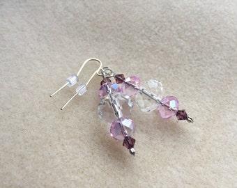 Pink ~ Lavender Crystal & Sterling Silver Earrings