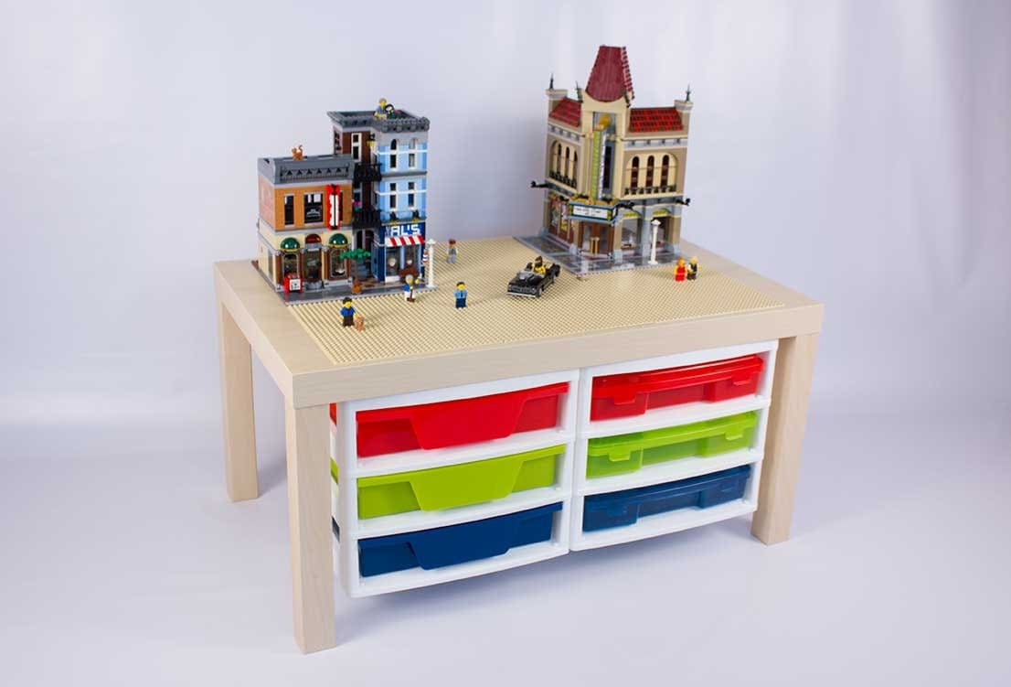 grande table de lego avec 2 attach trois meubles de rangement. Black Bedroom Furniture Sets. Home Design Ideas