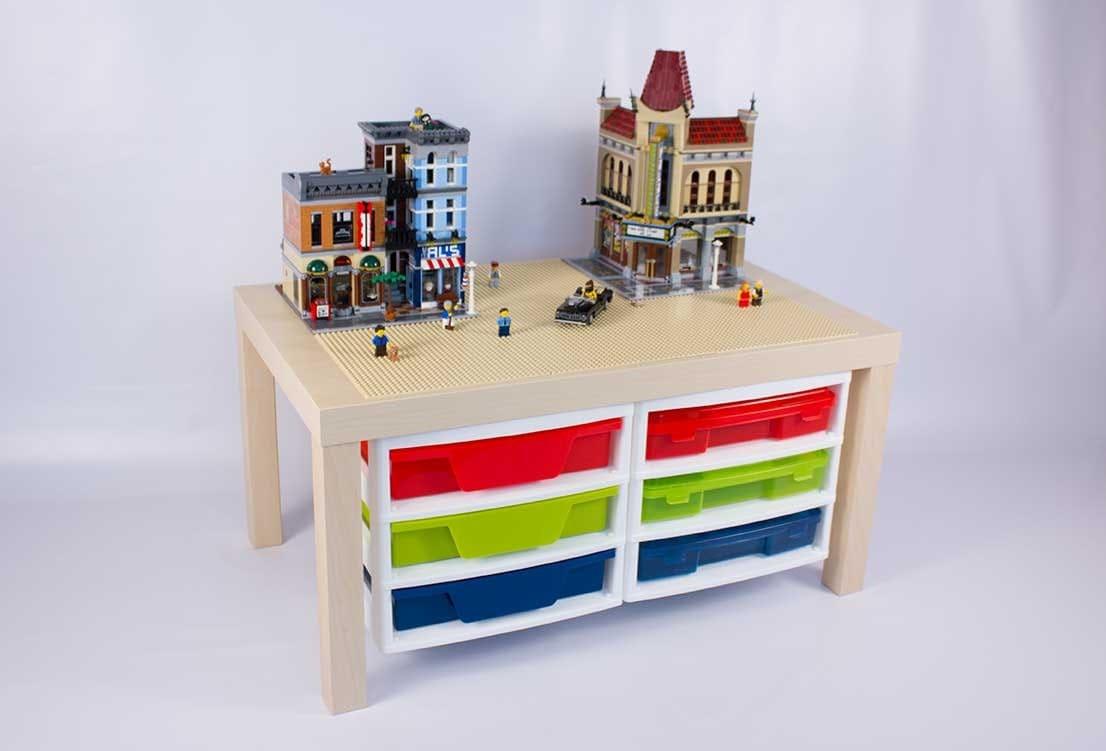 grande table de lego avec 2 attach trois meubles de rangement. Black Bedroom Furniture Sets. Home Design Ideas