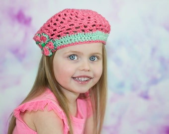 Girl Crochet Beret, Children Knitted Hat strawberry pink, Toddler Pink Beret, stylish hat, 4 year old gift, colorful kids hat, junior girl