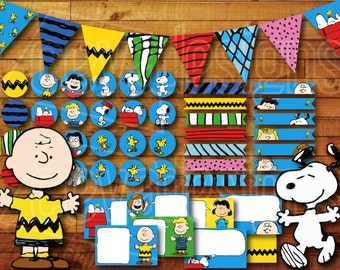 Printable Snoopy Birthday Party Decoration / Peanuts Charlie Brown Birthday Party Decoration Instant Digital Download with Banner / Bunting