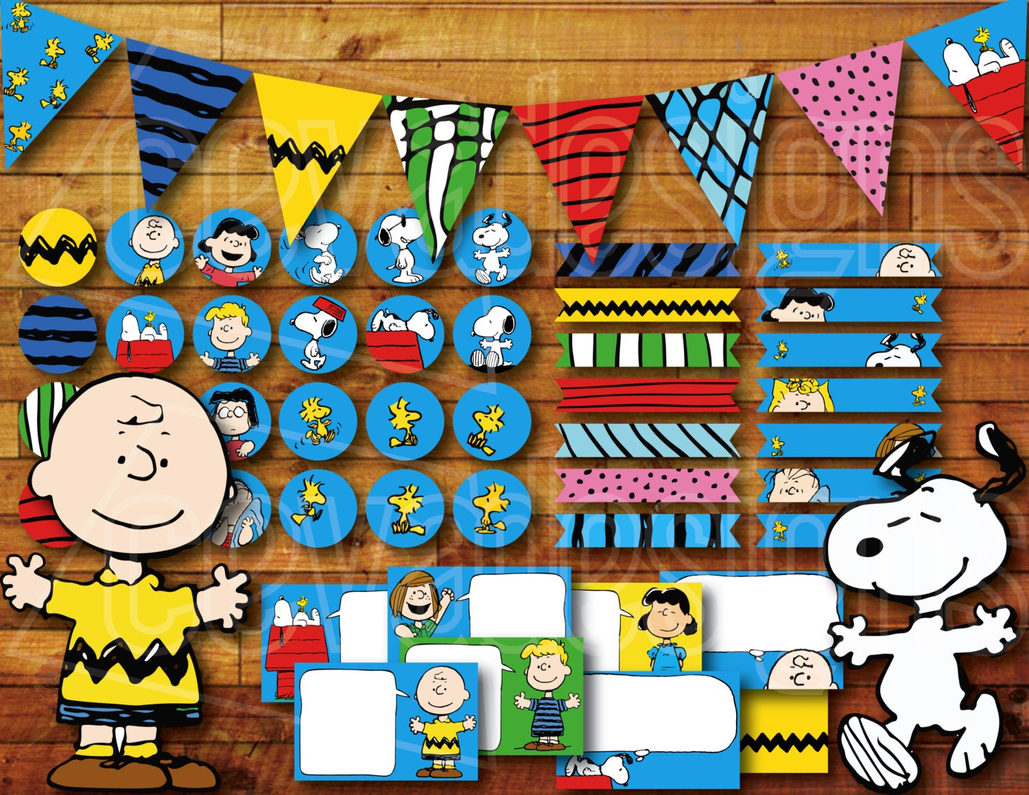 Printable Snoopy Birthday Party Decoration / Peanuts Charlie