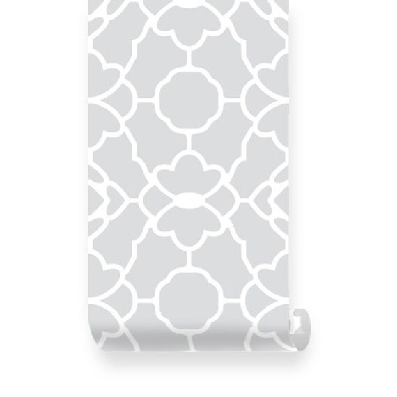 Large Trellis Pattern Grey Removable Wallpaper Peel Stick
