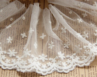 White Lace, Little Stars Embroidery  Lace,  Floral Lace,Tulle Gauze Lace Trims 3.54 Inches Wide 2 yards E8055