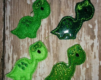 Set of 4 Dinosaur Green St Patricks Paddy Paddy's Patty Patrick's Day Feltie Felt Embellishment Bow! Birthday Party Planner Clip Girly Bow
