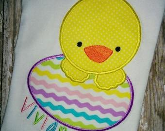 Girls Boys Toddler Easter Egg Chick Personalized T Shirt Chevron Peeking