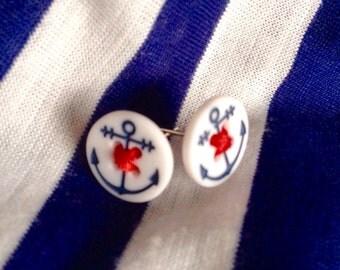 Anchor button earrings, anchor earrings, nautical earrings, button earrings, nautical jewelry