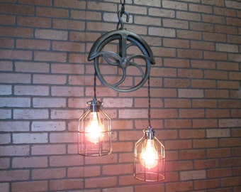 "Vintage Industrial Light Pulley Pendant Drop Ceiling Light with Trouble Cage Shades  39"" Long"