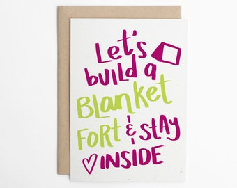 Valentine's Day Card - Build a Blanket Fort - Valentine for Friend, Valentine Card for Him, Valentine Card for Her, Cute Love Card/C-216