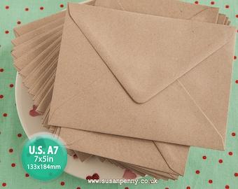 10 Kraft Envelope, A7 Kraft Envelope, Greeting Card Envelope, 7x5in, Triangular Flap, Gummed, Flecked Brown, 110gsm, 100% recycled PSS078