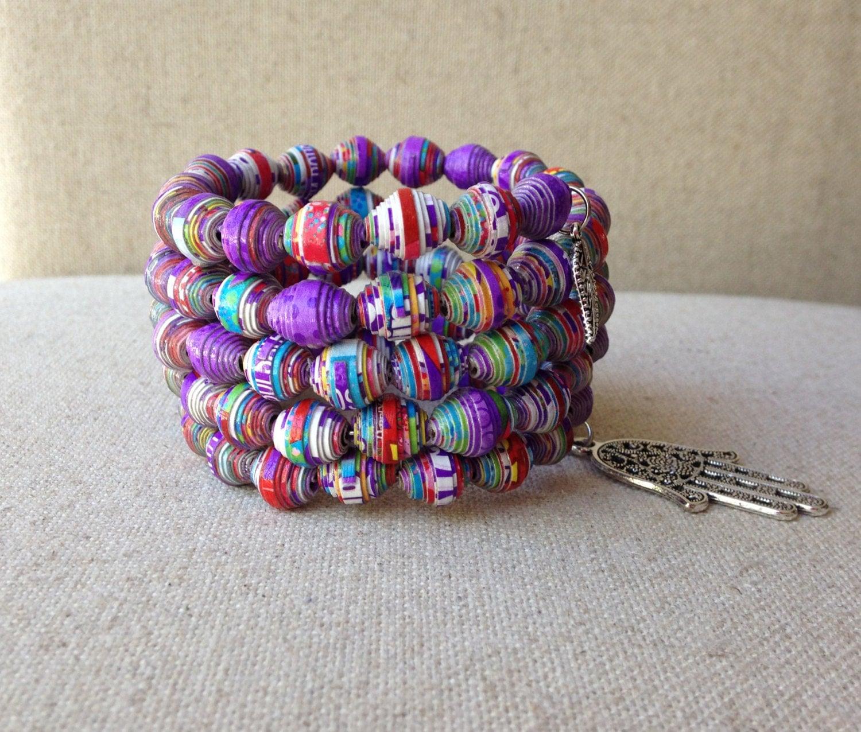 Handmade paper bead bracelet Purple bracelet Memory wire