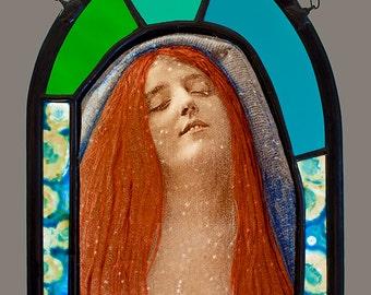Ecstacy Stained Glass Suncatcher, Ecstacy suncatcher, victorian suncatcher, vintage stained glass, ecstacy stained glass, ecstacy, art glass