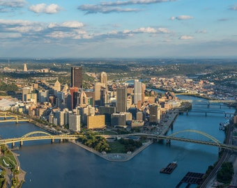 Close up aerial view of the Pittsburgh skyline - Metal Print