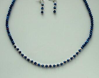 Elegant Swarovski Elements Blue Crystal Necklace Set