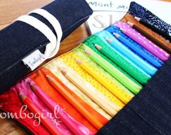Rainbow Pencil Roll / case, Personalised name applique, Back to school,  Australian made  – Blue Denim include 12 quality coloured pencils
