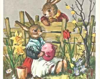 Vintage German Easter bunny rabbit Frohe Ostern digital download printable image 300 dpi