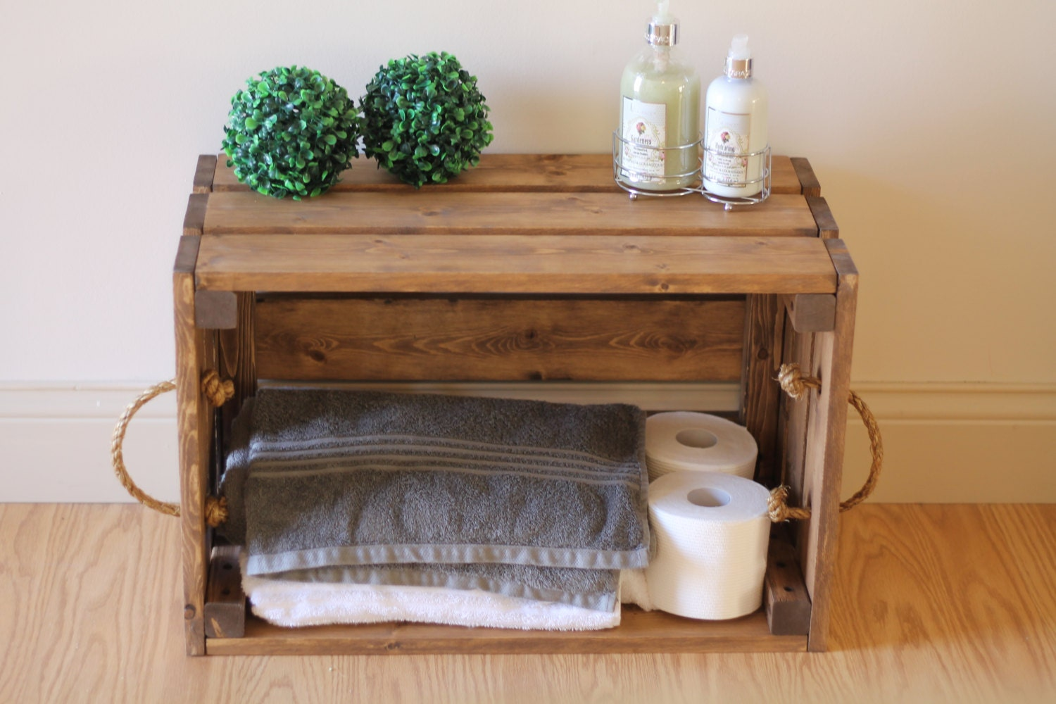Rustic bathroom decor - Rustic Wooden Crate Rustic Bathroom Storage Bathroom Shelf Rustic Towel Rack Rustic