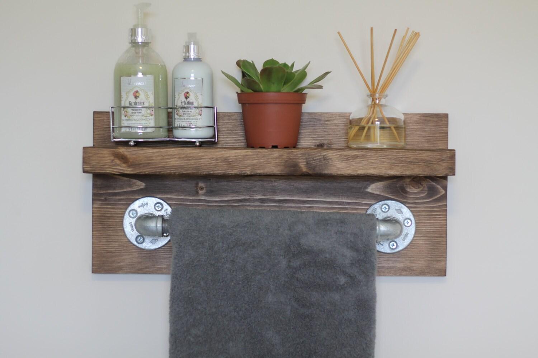 Small rustic industrial towel rack bathroom shelf rustic for Bathroom decorative shelves