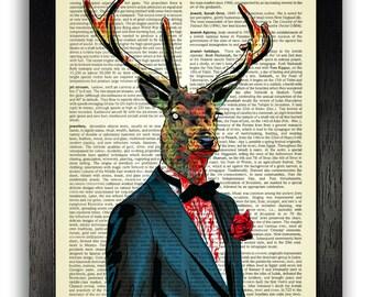 Scary Zombie Deer Poster Art, Gothic Zombie Art Print, Deer in Suit Book Art, Dark Goth Poster Bedroom Decor, Halloween Decal, Horror Poster